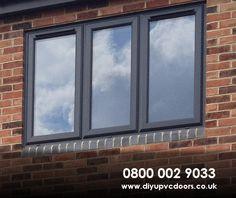 Back bedroom window example, opening at base Upvc Sash Windows, Grey Windows, Porch Windows, Casement Windows, House Windows, Windows And Doors, Gutter Colors, Soffit Ideas, Dormer Bungalow