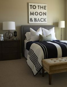 Alice Lane Home: Cool boys bedroom with walls painted Analytical Gray by Benjamin Moore. A dark gray ...