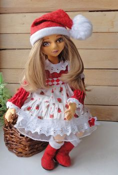 Christmas doll textile doll boudoir doll beautiful by EvaiDolls