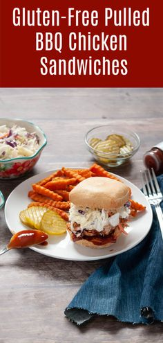 4 Ingredient Instant Pot (Or Slow Cooker!) Pulled BBQ Sandwich w/ Coleslaw (Gluten, Dairy & Egg Free Options! Gluten Free Recipes For Lunch, Allergy Free Recipes, Lunch Recipes, Crockpot Recipes, Dinner Recipes, Drink Recipes, Summer Recipes, Chicken Recipes, Bbq Chicken Sandwich
