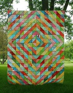 Warm/Cool Scrappy HSTs @Jennifer Mathis (Ellison Lane Quilts) I know you are looking for scrappy quilt ideas.