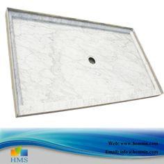 Beau White Carrara Marble Shower Pans