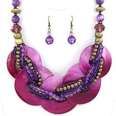 Captiva Colored Shell Necklace Set in Purple