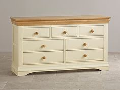 Country Cottage Natural Oak and Painted 3+4 Chest of Drawers