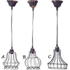Industiral Wire Cage Pendant Lights - $36.00 each. - MINE!!!