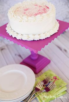 DIY Wooden Cake Stand. Customize with your own paint choice. I used Pantone's color of the year- radiant orchid. skiptomylou.org #cakestand #cake #pantone #diy