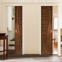 Deanta Unilateral Pocket Contemporary Design Cadiz Walnut Prefinished Door.    #cadizdoor  #interiordoor  #moderndoor  #walnutflushdoor  #newflat