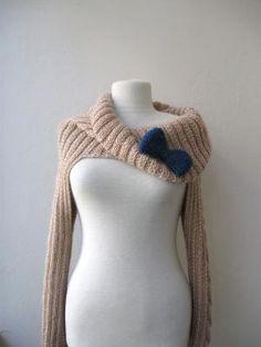 knit turtleneck shrugcable