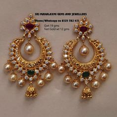 We Get better finishing in light wt also. Presenting chandbali earrings net Gold wt 12 gms. Visit us for best prices on full range of… Gold Jhumka Earrings, Indian Jewelry Earrings, Jewelry Design Earrings, Gold Earrings Designs, Earings Gold, Necklace Designs, Gold Designs, Chand Bali Earrings Gold, Silver Necklaces