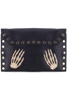 #romwe Stud Golden Hand Detail Black Clutch