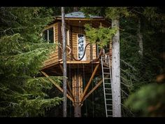 Rustic treehouse complete with bicycle elevator and zipline