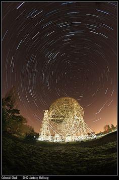 Celestial Clock - star trail over Jodrell Bank