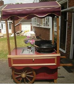 our brand new, hot roast chestnut cart available for hire. Currently being repainted in dark Victorian oxford blue xx :) www.victoriansweetcartcompany.co.uk