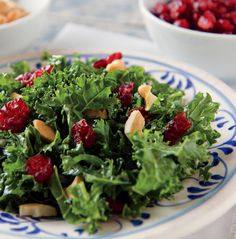 Massaged Kale Salad with Cranberries and Cashews from NYTimes' excellent Well's Vegetarian Thanksgiving series Cashew Recipes, Kale Salad Recipes, Vegetarian Recipes, Healthy Recipes, Going Vegetarian, Veggie Recipes, Fish Recipes, Gourmet Recipes, Delicious Recipes