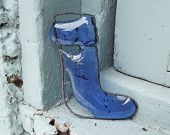 Recycled Glass Blue Christmas Stocking Ornament
