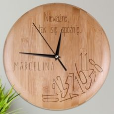 Personalizowany zegar bambusowy SPÓŹNIALSKI idealny na urodziny