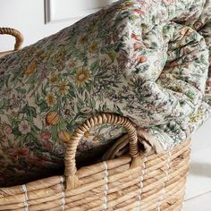 A soft floral quilt with a plain background in mustard or pink. Cosy and inviting space. On sale now at The Forest & Co Cozy Cottage, Cottage Style, Textiles, Floral Bedspread, Mourning Dove, Boho Home, Quilted Bedspreads, My New Room, Home Interior