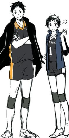 Karasuno captains, Daichi Sawamura and Yui Michimiya