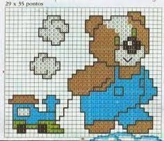 """Résultat de recherche d'images pour """"gráficos de urso ponto cruz para toalha de banho infantil com capuz"""""""