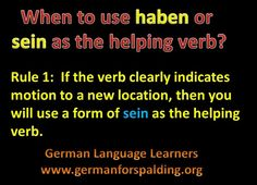 Haben or sein as helping verb - rule 1