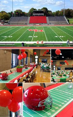 Homecoming Football Dinner decorations inspired by football field. Don't you want to try this at Tech? Cheer Banquet, Football Banquet, Football Awards, Youth Football, Football Field, Football Decor, Football Team, Football Stuff, Football Season