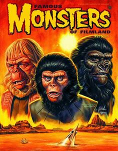 Famous Monsters of Filmland: Planet of the Apes - Jason Edmiston Sci Fi Movies, Horror Movies, Fiction Movies, Horror Art, Pierre Boulle, Jason Edmiston, Plant Of The Apes, Science Fiction Magazines, Famous Monsters