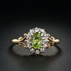 Antique Peridot and Diamond Ring c.1895