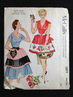 Cartamodello vintage grembiule anni cinquanta 1877 Bib di McCall anni cinquanta 1954