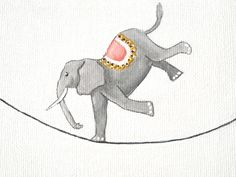 Elefante del circo dipinto acrilico originale su mini tela quadrata miniatura by beMimes #italiasmartteam #etsy