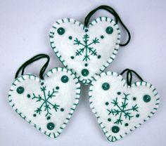 Felt Christmas ornaments, Heart decorations. Set of 3 Embroidered  Snowflake .. $18.00, via Etsy.