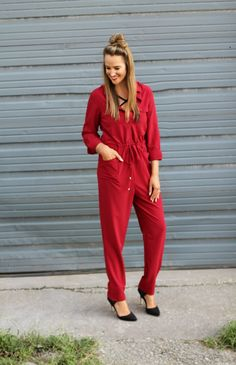 Little Red Jumpsuit - Lex What Wear #fashionblogger #styleblog #nashvillestyle #fallfashion #fallstyle #falloutfit #outfitideas #outfitinspiration #styleideas #blogger #bloggerstyle #fall #nashville #outfit
