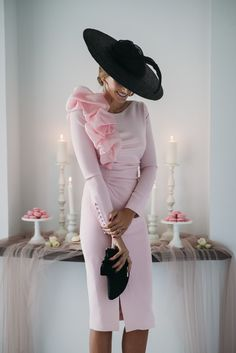 Pink and black Race Day Fashion, Races Fashion, Mother Of The Bride Dresses Long, Mother Of Bride Outfits, Day Dresses, Dress Outfits, Short Dresses, Chic Dress, Classy Dress