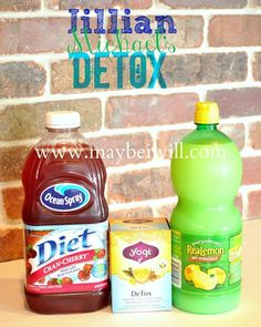 Maybe I Will...: Jillian Michael's Detox Water 60 ounces Purified Water 2 TBS Diet Cranberry Juice 2 TBS Lemon Water 1 Bag Dandelion Tea - Stewed ( I found my tea at Walmart in the beverage isle near the crystal light) This is a replacement of normal water intake and not a meal replacement!!