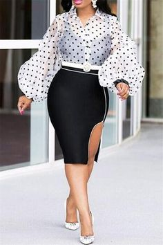White-Black Polka Dot Single Breasted Turndown Collar Lantern Sleeve E – chicmec African Fashion Dresses, Fashion Outfits, Fashion Fall, Trendy Fashion, Outfits Mujer, Moda Plus Size, Business Attire, Work Attire, Outfit Work