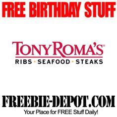 FREE BIRTHDAY STUFF – Tony Roma's – Birthday Freebie Meal – FREE BDay Ribs