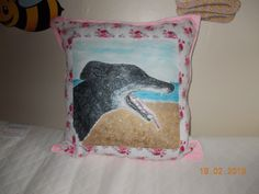 Different style of memorial cushion - rather than a simple representation of a pet, the client prefers a portrait worked from a photograph of her beloved Chrystal Greyhound