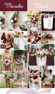 Wedding Themes Top 20 Wedding Color Combinations of All-Time Burgundy And Blush Wedding, Mauve Wedding, Wedding Flowers, Wedding Hair, Garnet Wedding, Wedding Rings, Diy Wedding, Wedding Reception, Wedding Venues