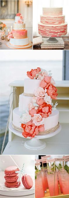 If I was a Summer bride I would have totally considered going with coral and gold palette for our wedding day. Not only is it a gorgeous Coral Wedding Cakes, Coral Wedding Colors, Our Wedding Day, Spring Wedding, Dream Wedding, Seaside Wedding, Rustic Wedding, Wedding Planer, Perfect Bride