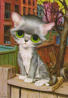 Vintage Gig Pity Kitty Print Big Eyed Cat Litho by vintagegoodness, $11.95