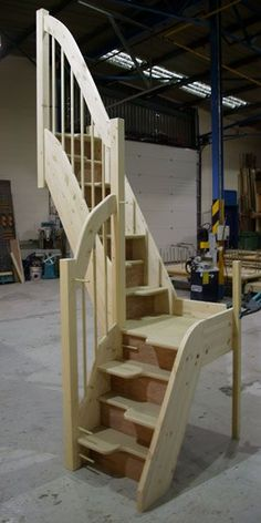 Quarter Landing Spacesavers. Great in a tiny house. Living small doesn't need to involve a ladder. http://www.stairplan.com/bespoke_spacesaver.htm