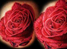 Rose tattoo by Cris Gherman World Tattoo, Tattoo You, Rose Tattoos, Flower Tattoos, Tatoos, Slimming World Quiche, Rose Tattoo Meaning, Tattoos Gallery, Skin Art