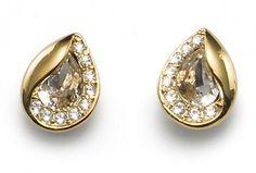 Cercei Hidden aurii cu cristale Swarovski