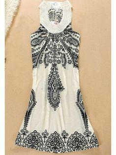 Pearl Neck Bohemian Dress