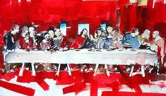 Last Supper, Da Vinci Revival, Aquarell Last Supper, Jewelry, Art, Watercolor, Art Background, Jewlery, Jewerly, Schmuck, Kunst