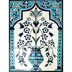 Moroccan-style Floral Pot 6-tile Ceramic Mosaic - Overstock™ Shopping - Big Discounts on Arts Exotiques Decorative Tiles