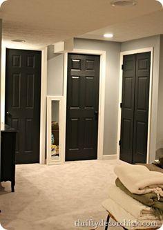 Closet Bedroom Doors Black Interior White Trim Through Out House Grey Walls Hall Bathroom