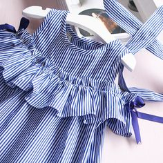 Hurave 2017 Summer ruffles girls dress girl clothing sleeveless striped dress for girl summer robe fille with hair bands