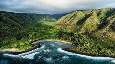 A wide shot of Hālawa Bay on the eastern tip of Molokai. Hawaii. Serene and untouched.  Aloha!