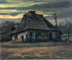 primo periodo di Van Gogh Straw huts at dusk 1885. Vincent van Gogh Dark like his early work, but looks like a completely different brush stroke or style. I never would have guessed it was a Van Gogh.