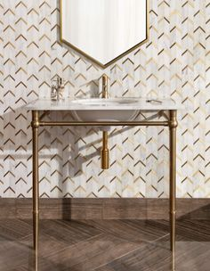 Home Remodel Porch Amp up your warm metallic hardware and fixtures with a matching metallic mosaic tile on the walls. The sparkly pairing of tile and mirror provides depth to the metallic-on-metallic look. Bathroom Styling, Bathroom Storage, Bathroom Lighting, Bathroom Tray, Art Deco Bathroom, Bathroom Canvas, Gold Bathroom, Washroom, Bathroom Cabinets